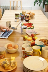 Shared breakfast at our coworking space in Berlin, co.up - a moment to get together and talk around food.