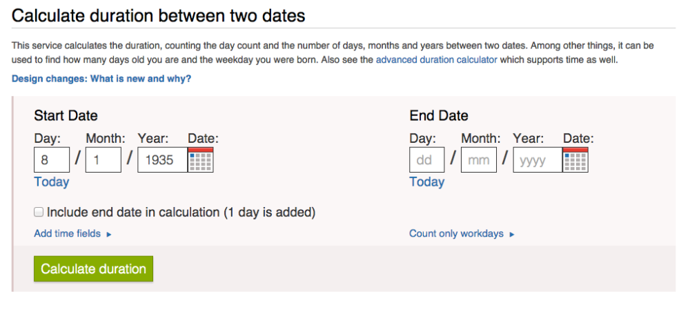Timeanddate.com - Date to day calculation