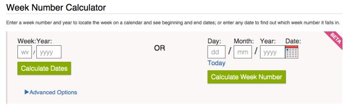 Timeanddate.com - Week number calculator