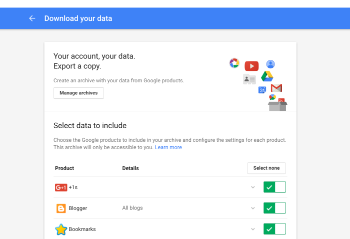 How to export your Google files anddata
